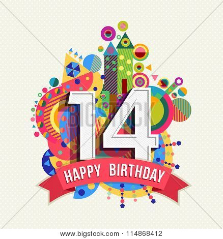 Happy Birthday 14 Year Greeting Card Poster Color