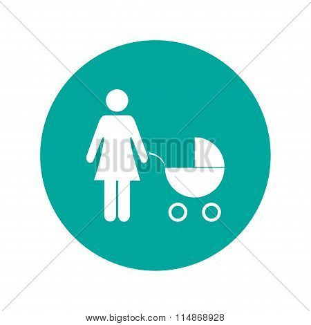 Woman With Pram Pictogram Flat Icon