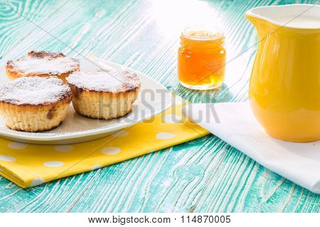 Cheesecakes And Jar Of Apricot Jam