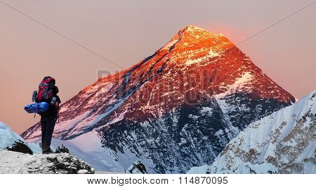 Mount Everest From Gokyo Valley With Tourist