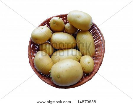 potatoes to eat isolated on white background in the kitchen