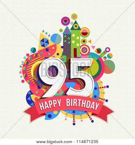 Happy Birthday 95 Year Greeting Card Poster Color