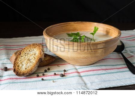 Mushroom Soup Puree In Ceramic Bowl With Bread