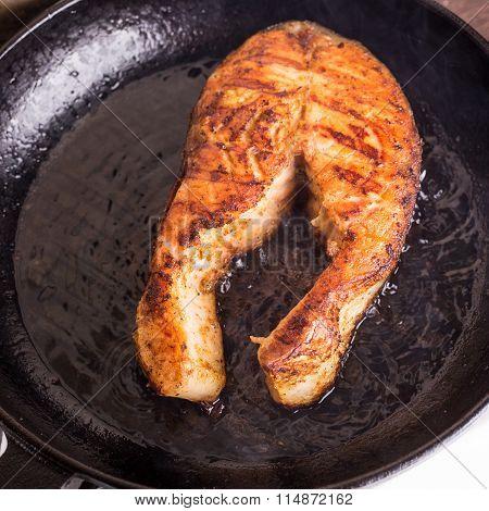 Roasting Salmon Steak On Grill Pan