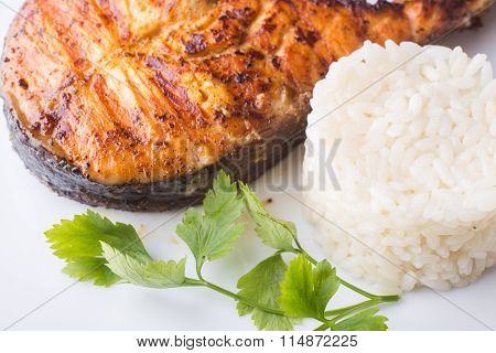 Grilled Salmon Steak With Rice. Recipe Background