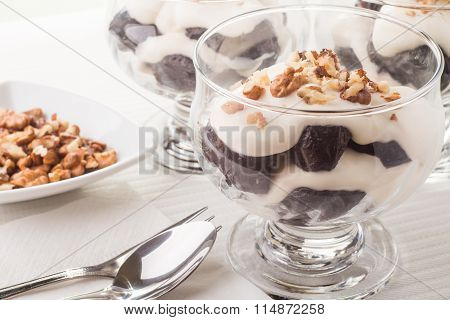 Dessert With Prune, Walnuts And Whipped Cream