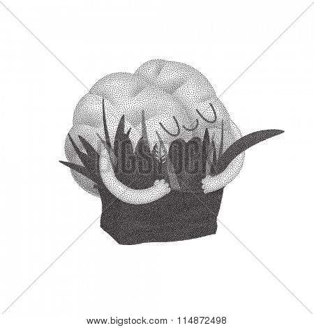 Feed your brain - a dotted vector illustration of enjoining brain hugging a bag of greens. Part of a Brain collection.