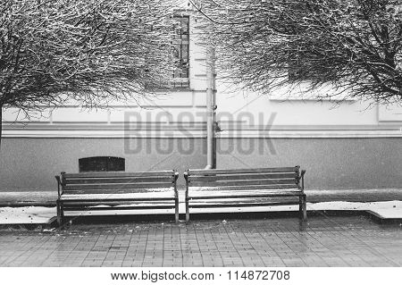 Pair Of Old Benches On The City Street In Winter