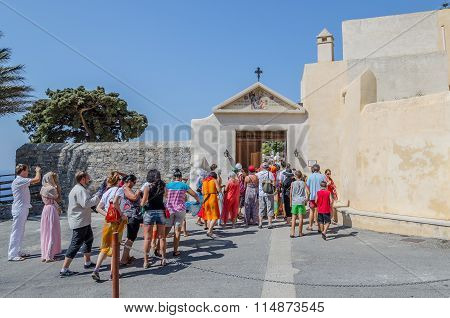 Tourists visit Orthodox Moni Preveli monastery