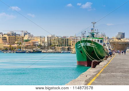 cargo ship at Heraklion port