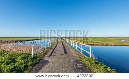 Bridge With A White Bridge Railing
