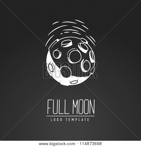 Cosmic Thin Line Vector Illustration. Moon, Space, Light. Concept - The Lunar Surface. Template Logo