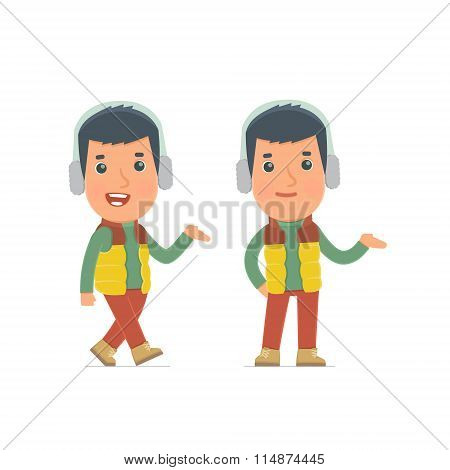 Funny And Cheerful Character Winter Citizen Making Presentation Using His Hand