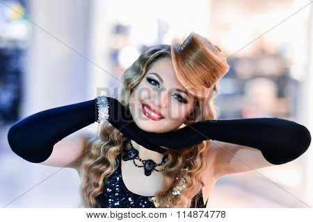 Cheerful, wavy hair, hairstyle, posing, young, blonde hair, super jewelry girl model with nice, cute smile, clean hear skin and hat from hair. Moulin Rouge. The best hair, cover of magazine. Madly, hair, long hair.