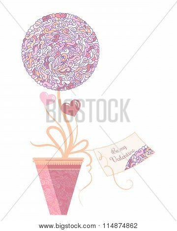 Vector illustration of topiary with hearts and greeting card