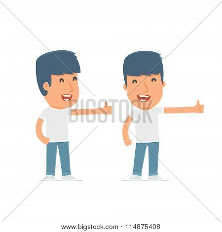 Funny And Cheerful Character Activist Showing Thumb Up As A Symbol Of Approval