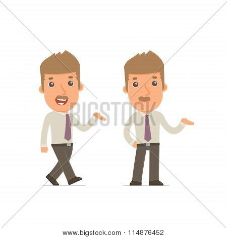 Funny And Cheerful Character Broker Making Presentation Using His Hand