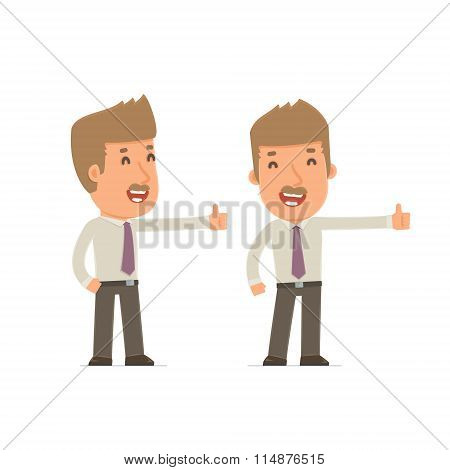 Funny And Cheerful Character Broker Showing Thumb Up As A Symbol Of Approval