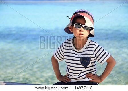 Japanese boy and blue ocean (5 years old)