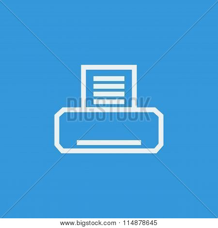White fax icon on blue background