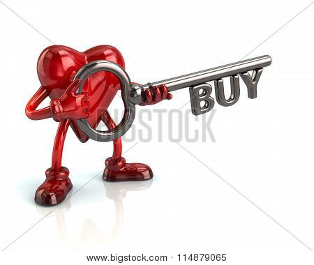 Heart And Silver Key With Word Buy