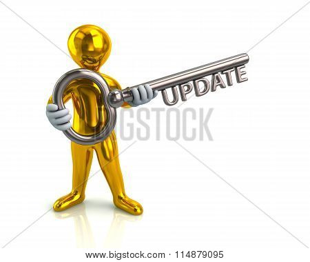 Golden Man And Silver Key With Word Update