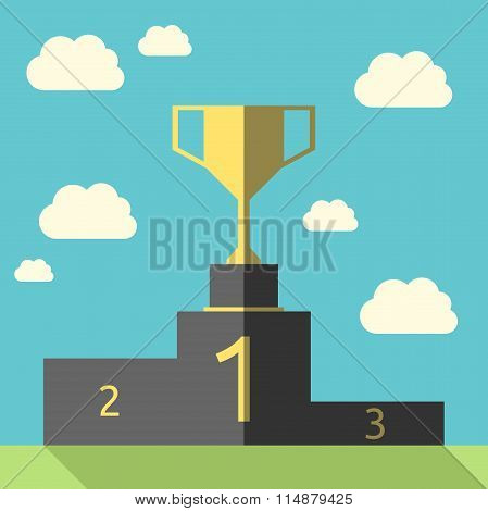 Golden Goblet On Pedestal