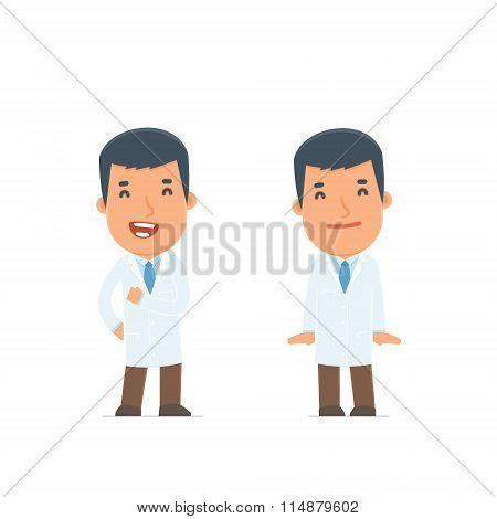 Funny Character Doctor In Confident And Shy Poses