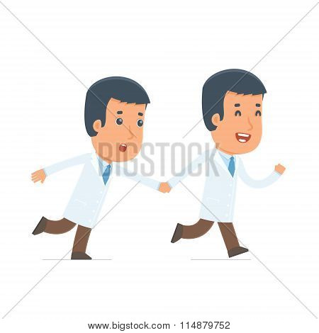 Happy And Joyful Character Doctor Runs And Drags His Friend To Show Him Something
