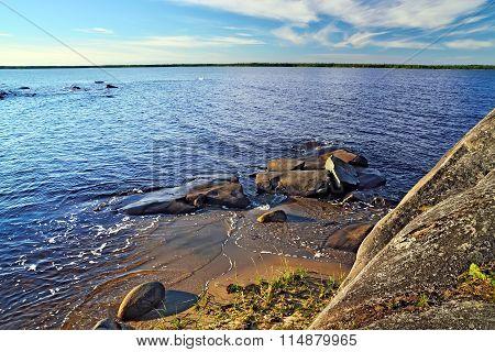 Rocky Shore Of The White Sea. Karelia, Russia