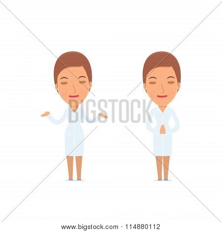 Calm And Blanced Character Nurse Does Yoga And Meditates