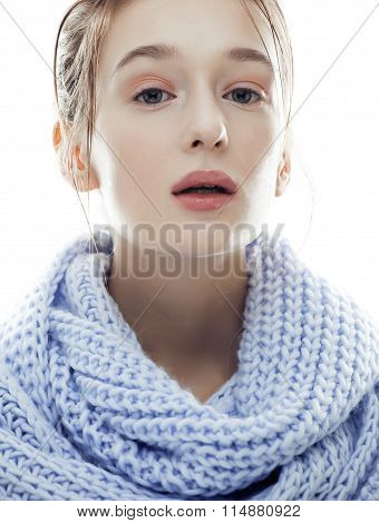 young real blond woman in blue scarf close up isolated