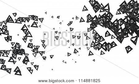 Glossy pyramidal frame in random order hanging in the air on a white background. Abstract illustrati