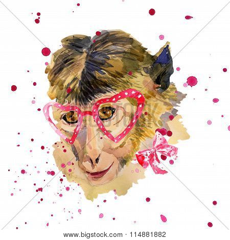 Watercolor monkey in red  heart shaped glasses