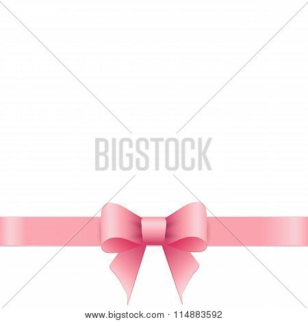 Pink bow on white background.