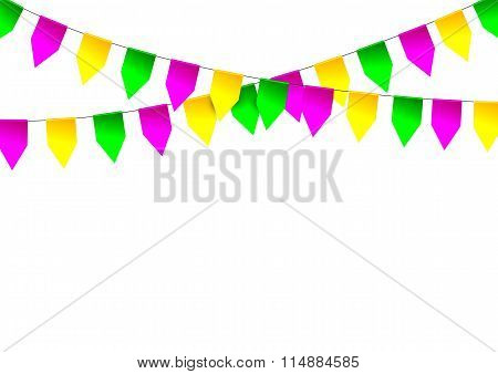 Mardi Gras party bunting flag.