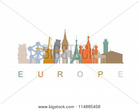 Europe skyline landmarks silhouettes. Vector illustration