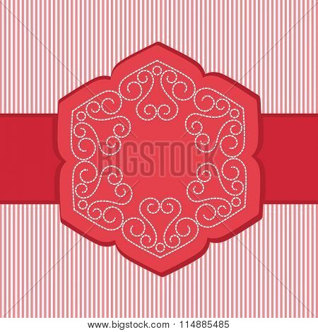 Banner frame striped background Heart Coils in dashes copyspace center
