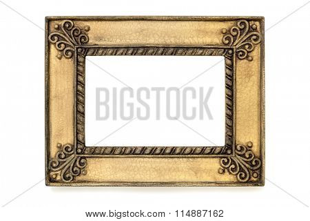 Gilded grunge picture frame isolated on white.  Internal clipping path included.