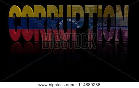 Corruption text with Venezuelan flag and currency illustration