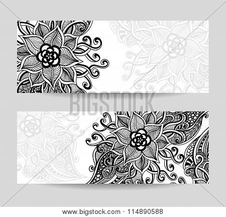 Set banners with Zen-doodle  abstract decorative flowers black on white