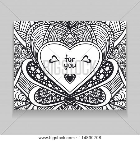 Template with Zen-doodle style pattern and heart frame black on white