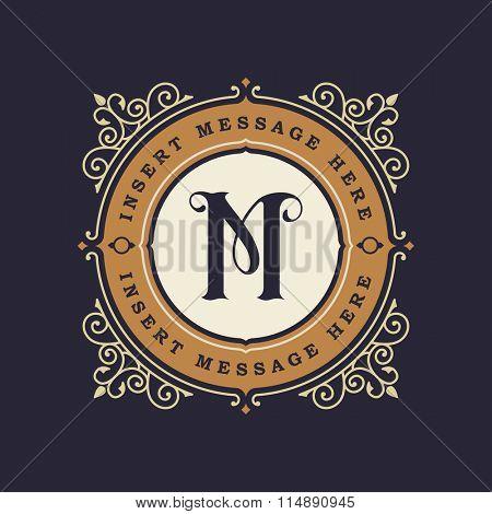 Monogram emblem insignia. Calligraphic logo ornament vector design. Decorative frame for Restaurant Menu, Hotel, Jewellery, Fashion, Label, Sign, Banner, Badge