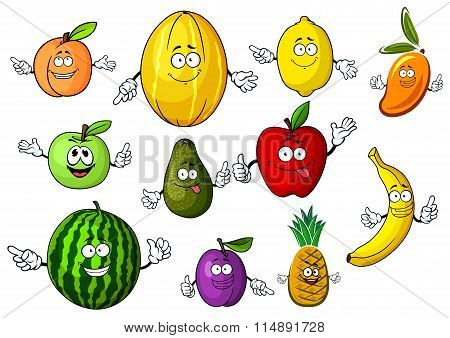 Cartoon funny garden and tropical fruits