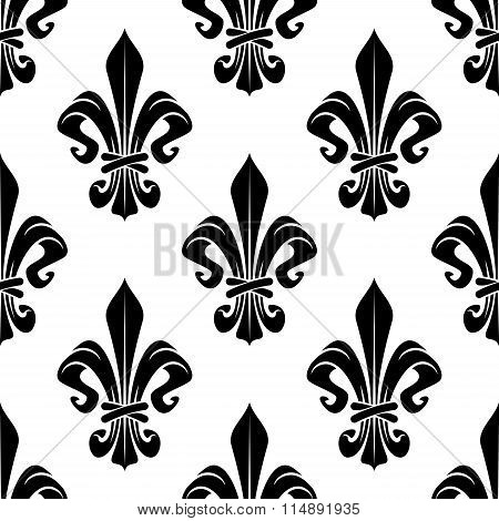 Black and white royal fleur-de-lis pattern