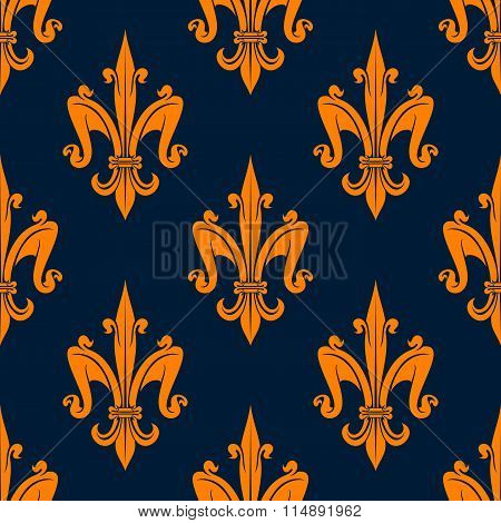 Orange fleur-de-lis floral seamless pattern