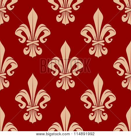 Beige and red seamless fleur-de-lis pattern