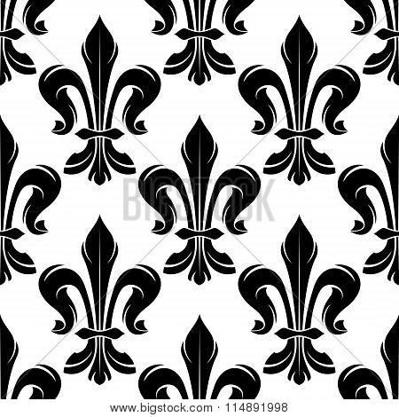 Black and white fleur-de-lis royal pattern