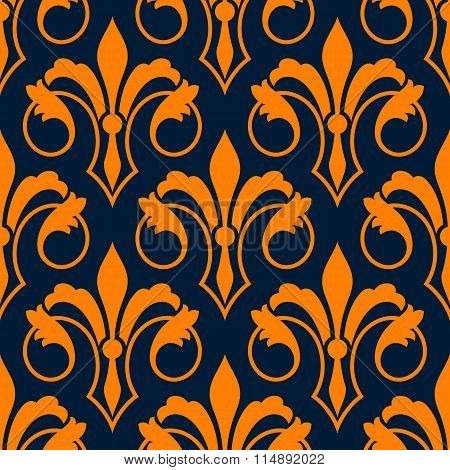 Fleur-de-lis seamless pattern with orange lilies