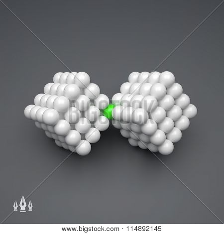 Vector Cube. 3D Concept Illustration for Marketing, Website, Business Presentation. Idea Concept. 3d Spheres Composition. Concept for Science, Technology and Network. Futuristic Technology Style.